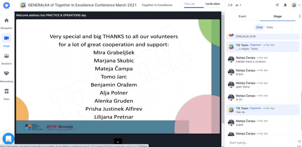 prostovoljci konference TIE 2021